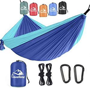 Favorland Camping Hammock Double & Single with Tree Straps for Hiking, Backpacking, Travel, Beach, Yard - 2 Persons Outdoor Indoor Lightweight & Portable with Straps & Steel Carabiners Nylon (Blue)
