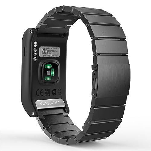 MoKo Bracelet de Garmin vívoactive® HR en acier inoxydable un Replacement de bracelet à maillons avec Fermoir déployante pour Tous les Modèles Garmin Vívoactive HR, Noir