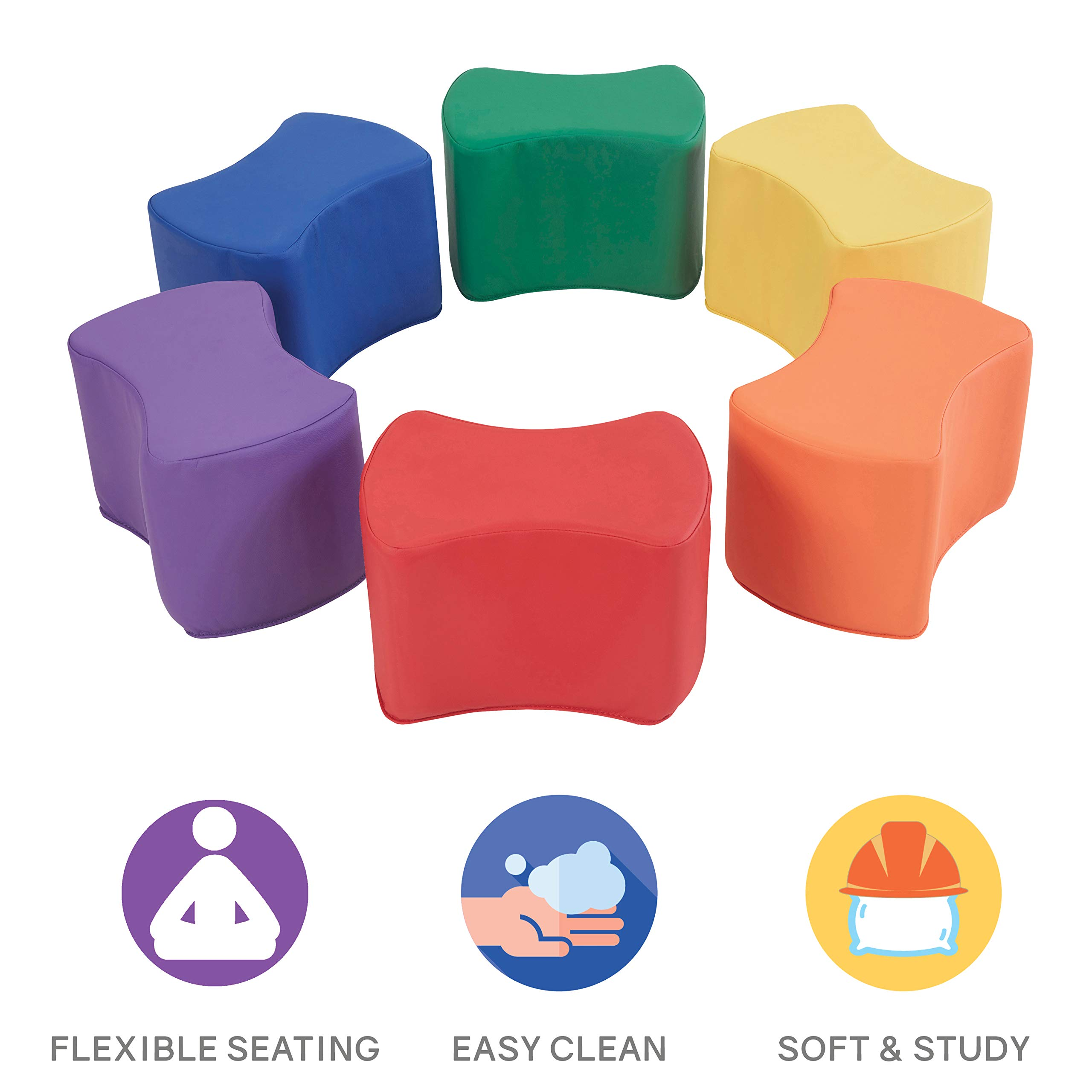 FDP SoftScape Butterfly Stool Modular Seating Set for Toddlers and Kids, Colorful Flexible Seating for Classrooms and Daycares (6-Piece Set) - Assorted by Factory Direct Partners