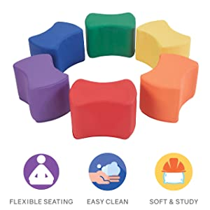 FDP SoftScape Butterfly Stool Modular Seating Set for Toddlers and Kids, Colorful Flexible Seating for Classrooms and Daycares (6-Piece Set) - Assorted