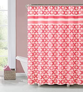 Home Goods Fabric Shower Curtain 72 X 72 INCH Pinwheel Coral