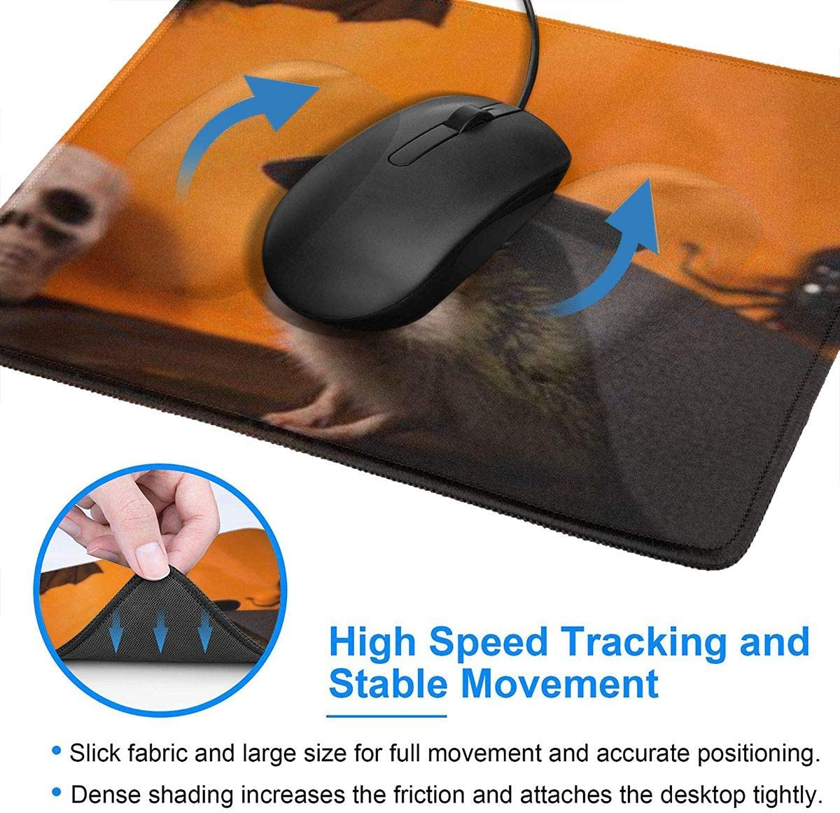 Mouse Pad Personality Halloween Hedgehog Pattern Mousepad Non-Slip Rubber Gaming Mouse Pad Rectangle Mouse Pads for Computers Laptop 10x12inch
