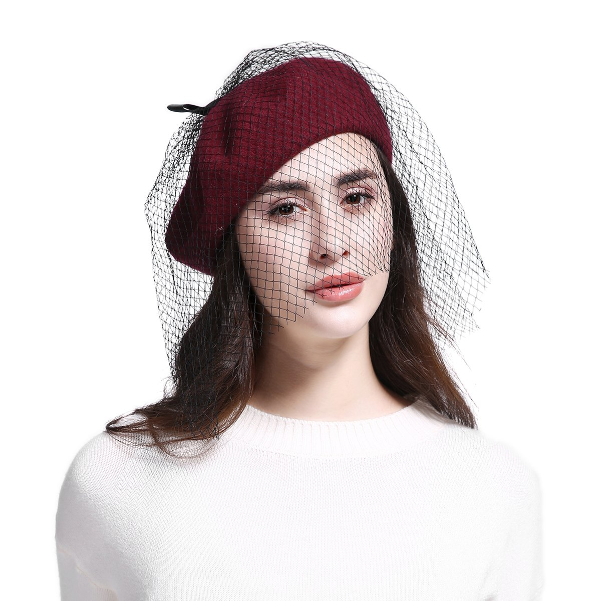 JOOWEN Women s Franch Inspired Wool Felt Beret Hat with Veil Cocktail Hat  (Bow-Burgundy) at Amazon Women s Clothing store  b94ee91378