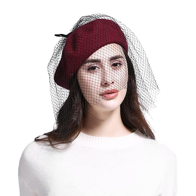 da365a47b4c JOOWEN Women s Franch Inspired Wool Felt Beret Hat with Veil Cocktail Hat ( Bow-Burgundy) at Amazon Women s Clothing store