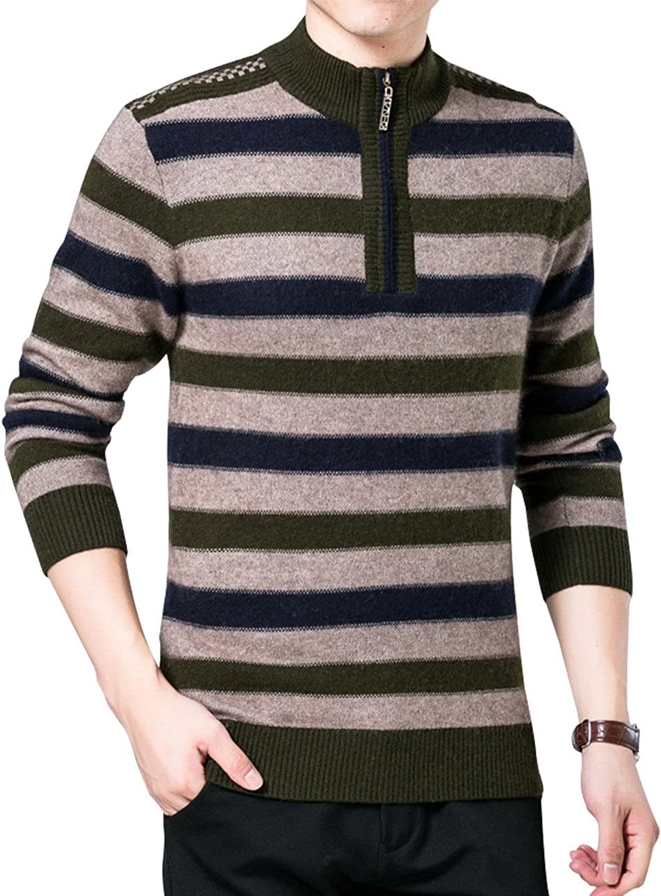 UUYUK Men Long Sleeve Crewneck Stripe Pullover Knit Slim Fit Sweater
