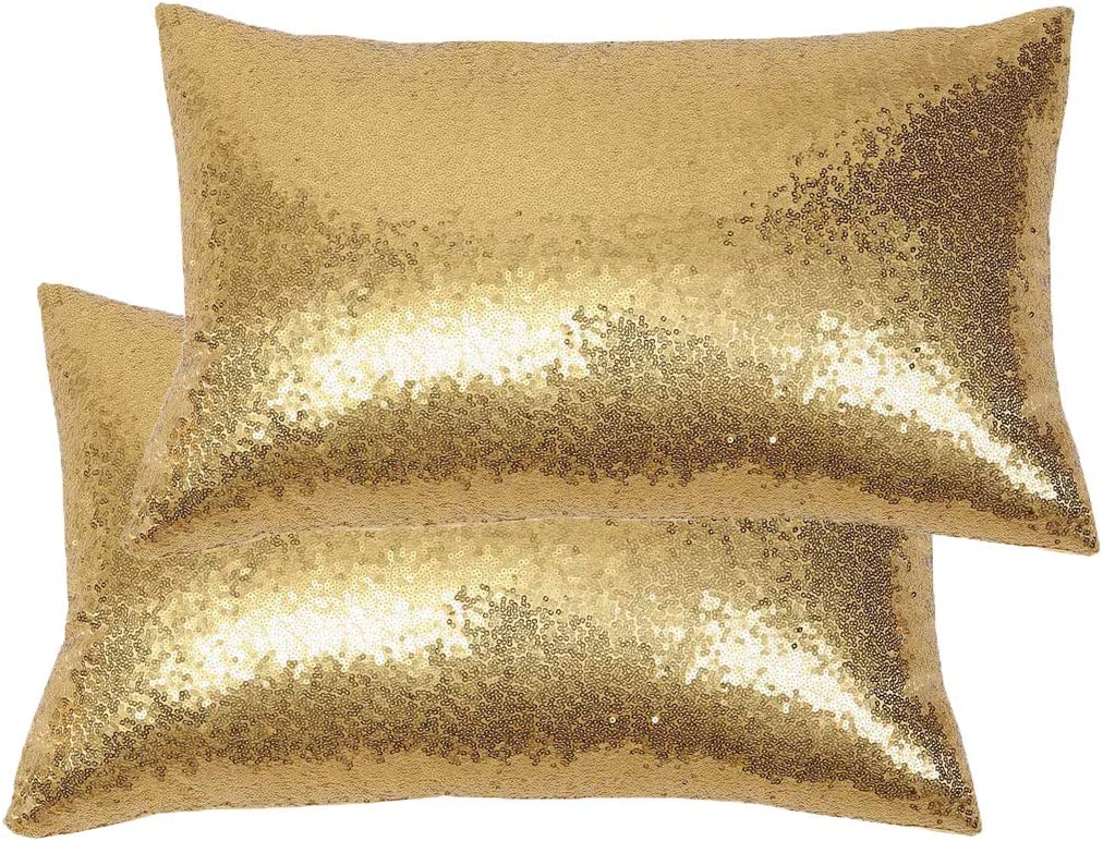Poise3EHome 12x20inches Gold Throw Pillow Covers Sequin Decorative Pillow Covers for Couch, Bed, Living Room, Christmas (Gold, 2PCS)