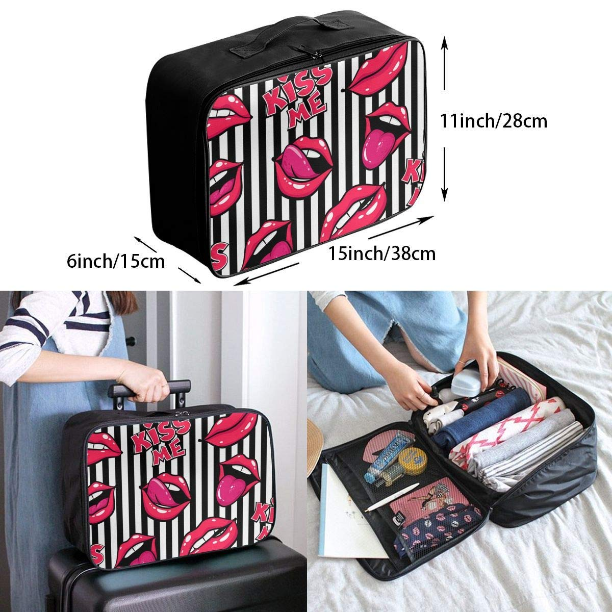 Hearts I Love You JTRVW Luggage Bags for Travel Travel Lightweight Waterproof Foldable Storage Carry Luggage Duffle Tote Bag