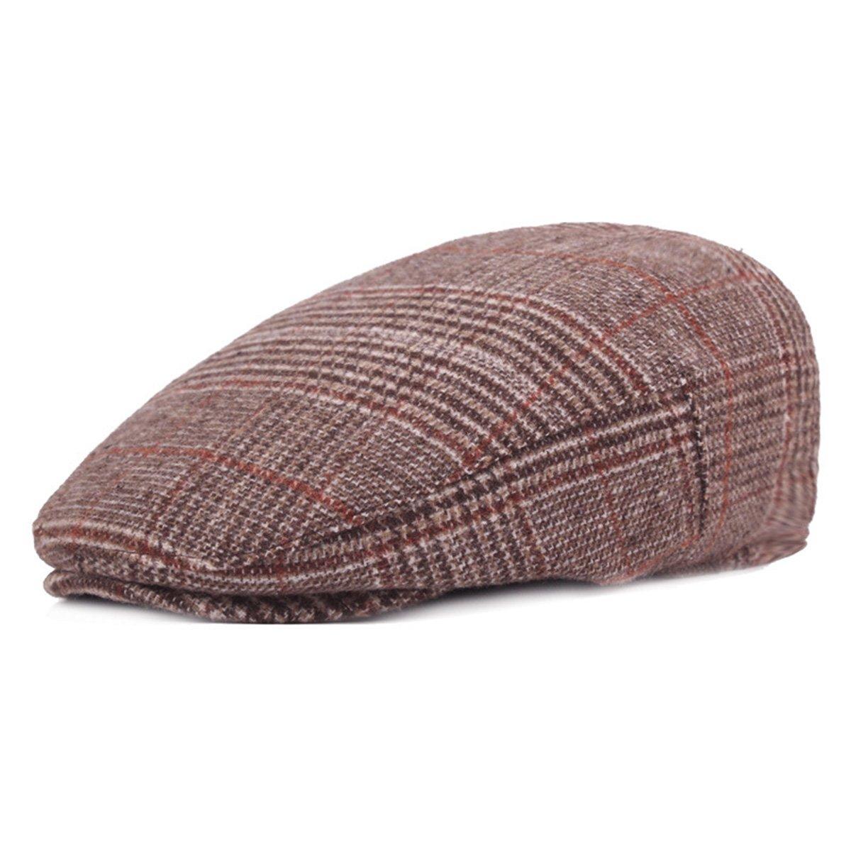 ZLSLZ Mens Woolen Plaid Flat Ivy Newsboy Cabbie Gatsby Paperboy Hats Caps For Men