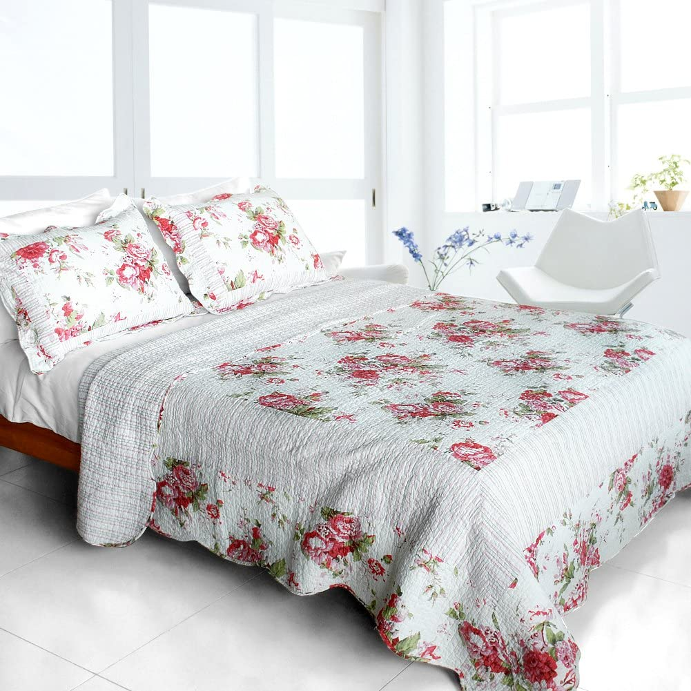 [Romantic Pink World] Cotton 3PC Vermicelli-Quilted Printed Quilt Set (Full/Queen Size)