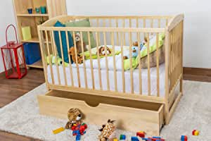 Cuna/cama infantil (Madera de pino maciza natural 102, incluye somier – Medidas 60 x 120 cm, con cajón