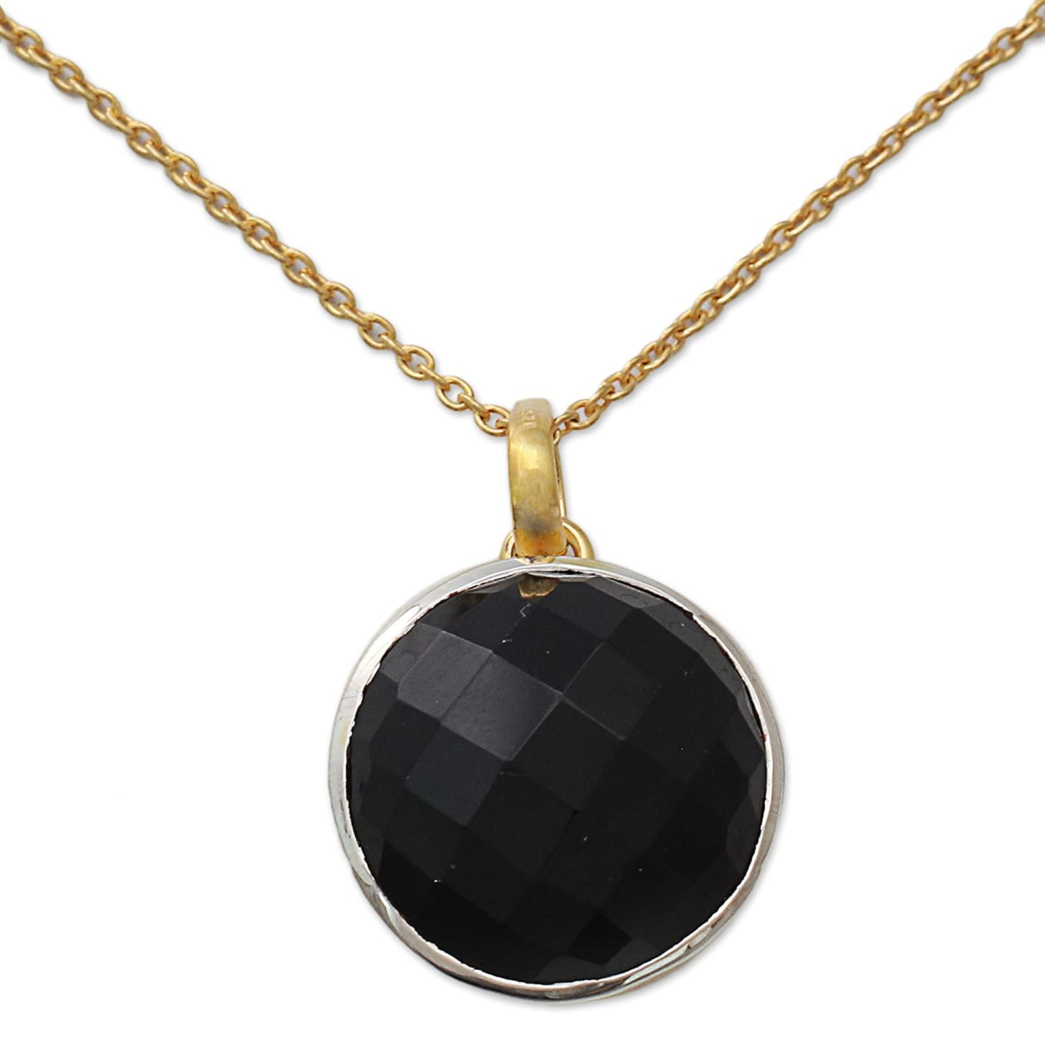 NOVICA Onyx 18k Gold Vermeil Pendant .925 Sterling Silver Necklace 18.75 Ecstasy in Black