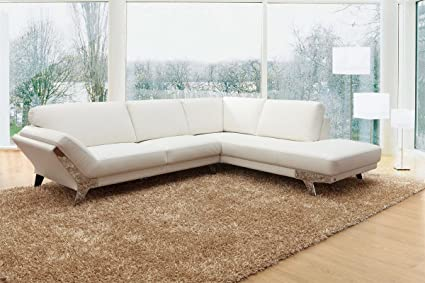 Amazon.com: 533 - Modern White Italian Leather Sectional Sofa ...