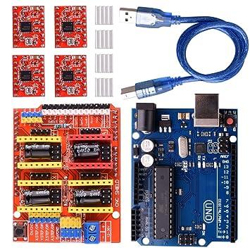 Longruner GRBL CNC Shield Expansion Board V3 0 +UNO R3 Board + A4988  Stepper Motor Driver with Heatsink for Arduino Kits