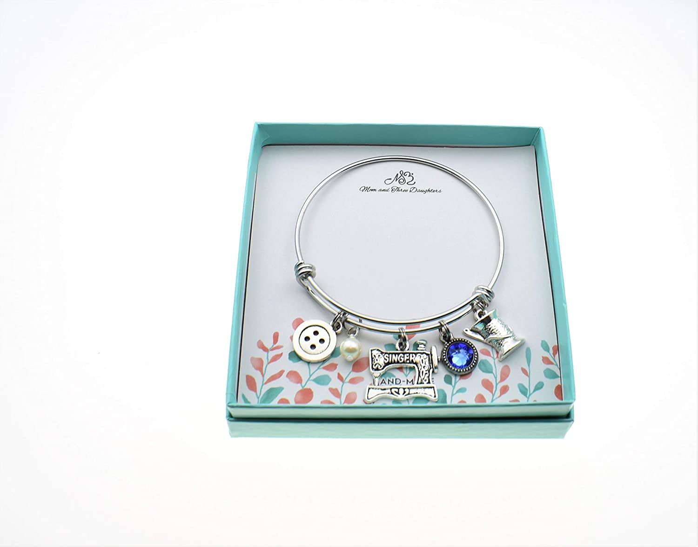 Sewing machine Bracelet Bridesmaid Gift Sewing Stacker Bangles Initial bangle Adjustable Bangle Bracelet Sewing machine jewelry
