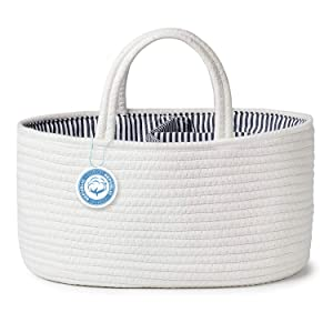 Baby Diaper Caddy Organizer Cotton Rope Portable Nursery Storage Bin for Boys and Girls,Baby Basket with Removable Inserts for Baby Shower Car Changing Table,Newborn Registry Must Haves