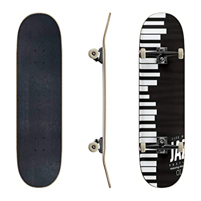 EFTOWEL Skateboards Jazz Music Poster Background Template Rock and roll Stock Classic Concave Skateboard Cool Stuff Teen Gifts Longboard Extreme Sports for Beginners and Professionals : Sports & Outdoors