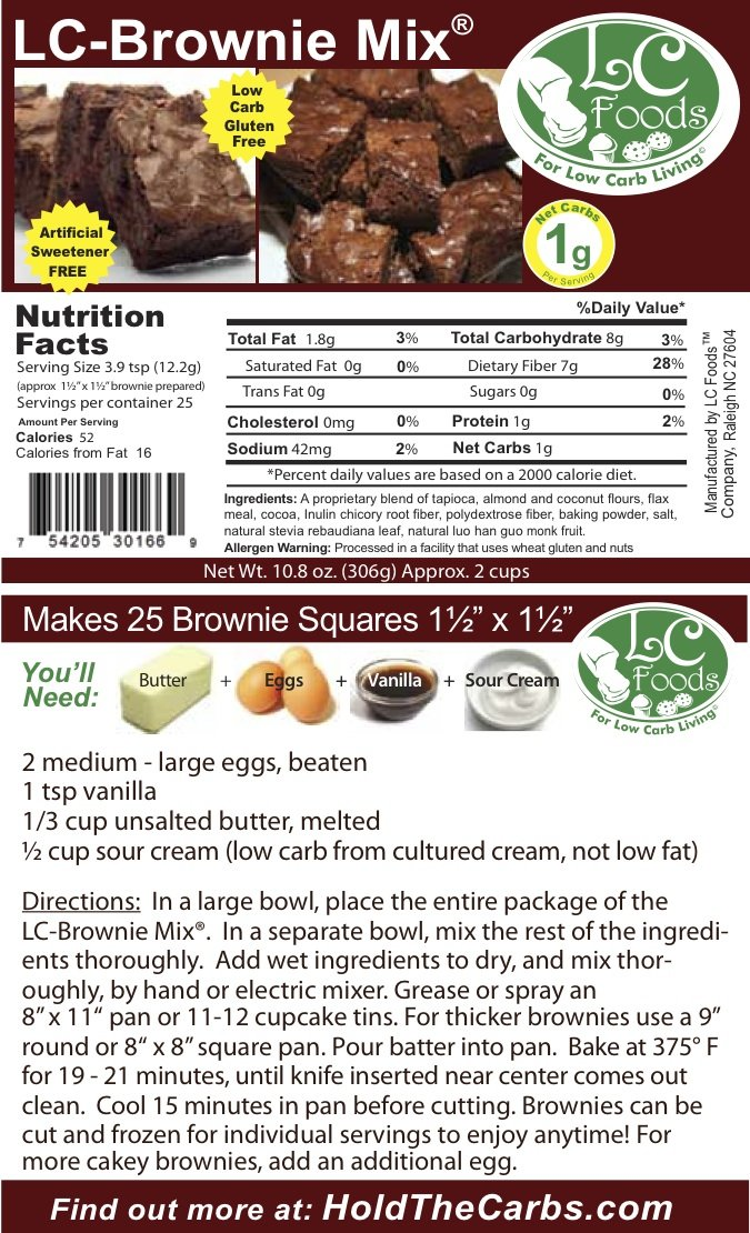 Low Carb Brownie Mix - LC Foods - All Natural - No Sugar - Diabetic Friendly - 10.8 oz