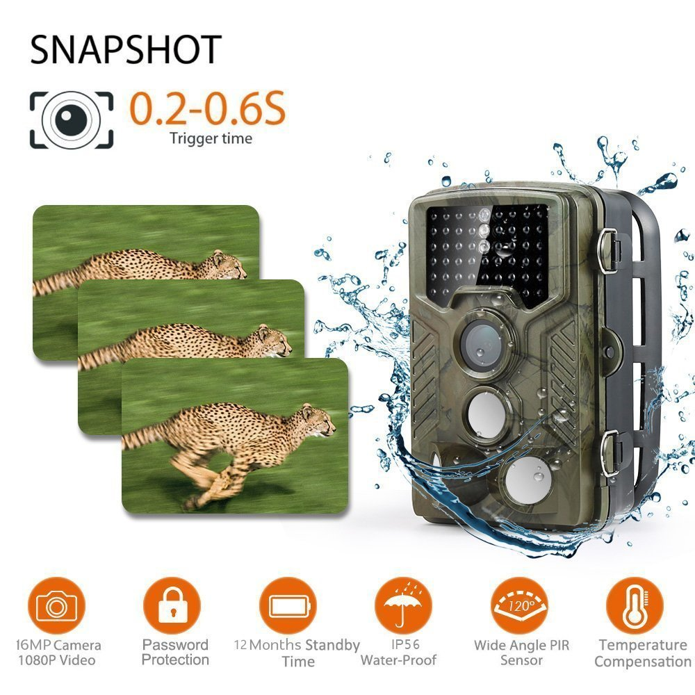 Ip Trail hunting camera 16MP 1080p 120° PIR Sensor wildlife game camera 65ft Infrared Scouting Camera with night vision 46pcs IR LEDs IP56 waterproof by infinity prodotti (Image #2)
