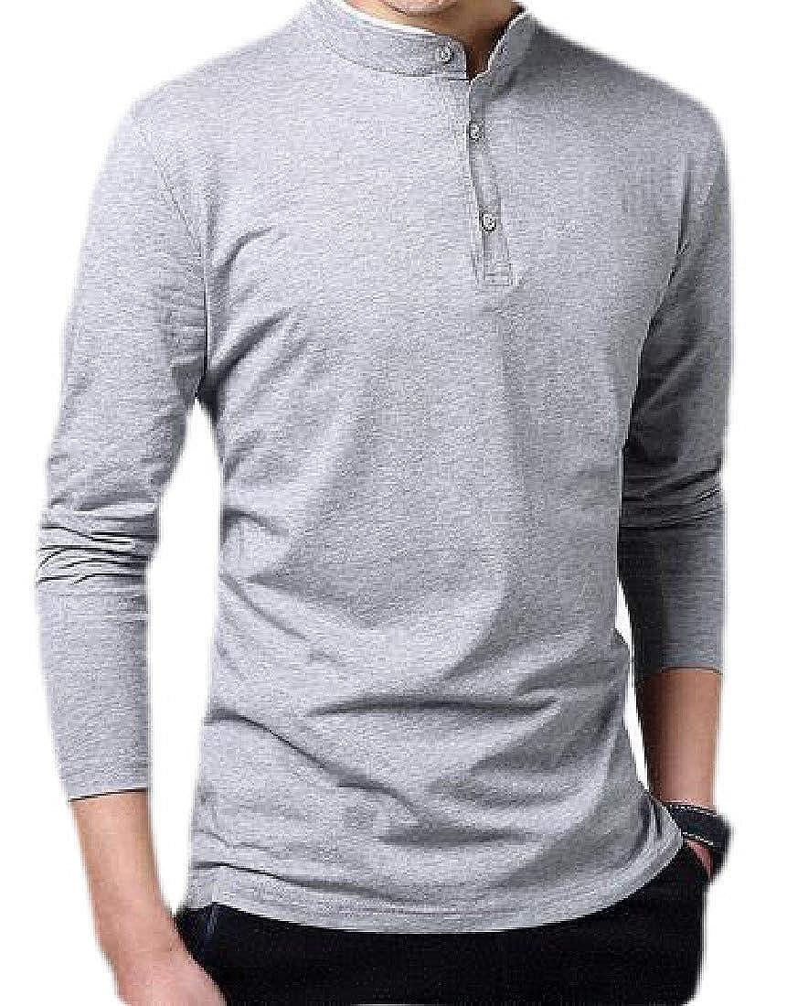 Hajotrawa Mens Solid Button Slim-Fit Tees Long Sleeve Comfort T-Shirt