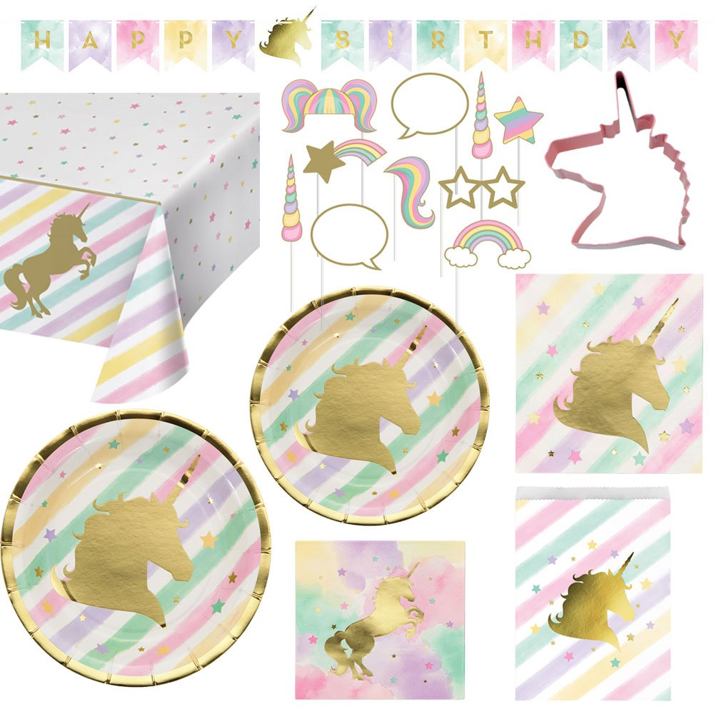 Creative Converting Unicorn Birthday Party Ultimate Bundle Serves 16 Guests: Happy Birthday Banner, Photo Props, Treat Bags, Plates & Napkins, Table Cover and Unicorn Cookie Cutter with Bonus Recipe by Creative Converting (Image #9)