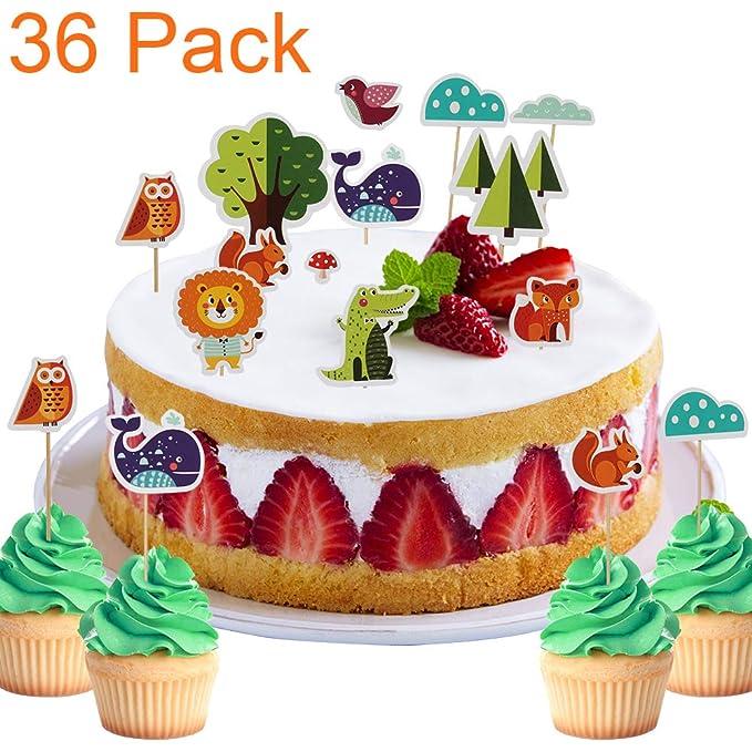 Fantastic 36 Pack Fun Safari Jungle Animal Woodland Themed Cupcake Toppers Birthday Cards Printable Nowaargucafe Filternl