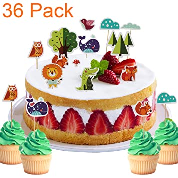 36 Pack Fun Safari Jungle Animal Woodland Themed Cupcake Toppers For Baby Shower Kids Birthday Cake