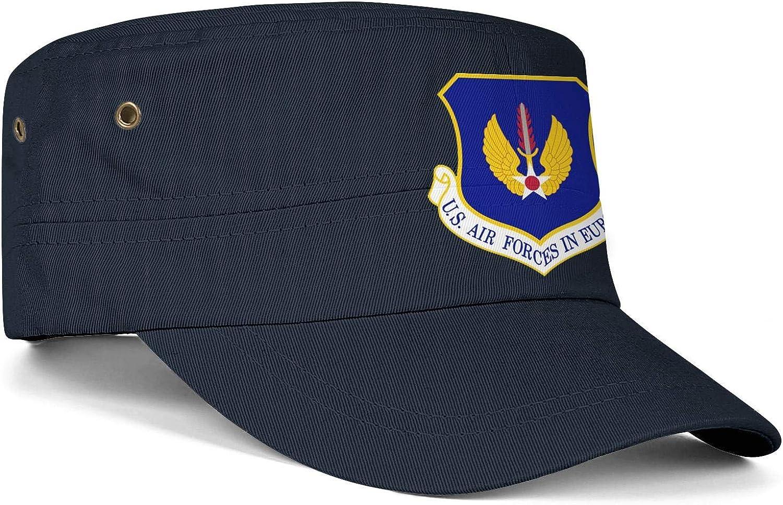 United States European Command US Logo Army Cap Cadet Corps Hat Military Flat Top Adjustable Baseball Cap Unisex
