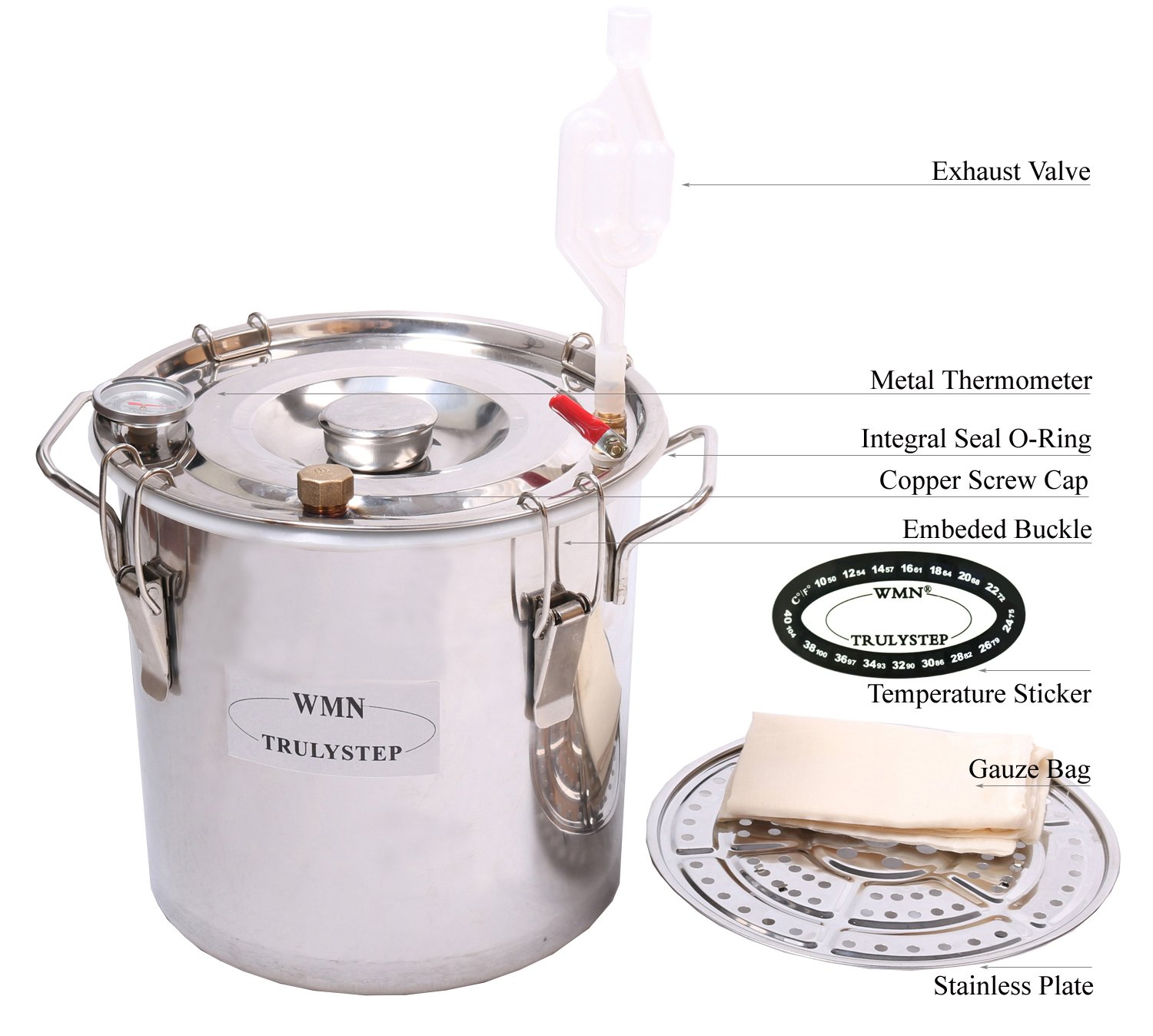 New 3 Pots DIY 3 Gal 12 Litres Alcohol Moonshine Ethanol Still Spirits Stainless Steel Boiler Water Distiller Whiskey Wine Making Kit by WMN_TRULYSTEP (Image #3)