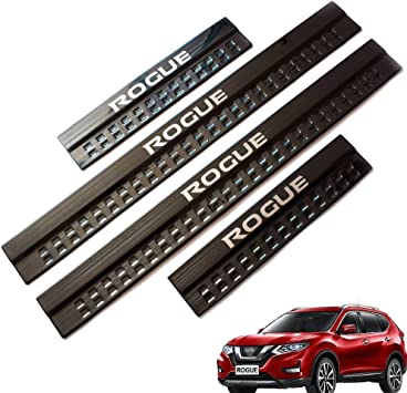 For 2014-2019 Nissan Rogue Car Accessories Steel Door Cover Door Sill Scuff Plate Door Sill Protector Cover Trim 4pcs