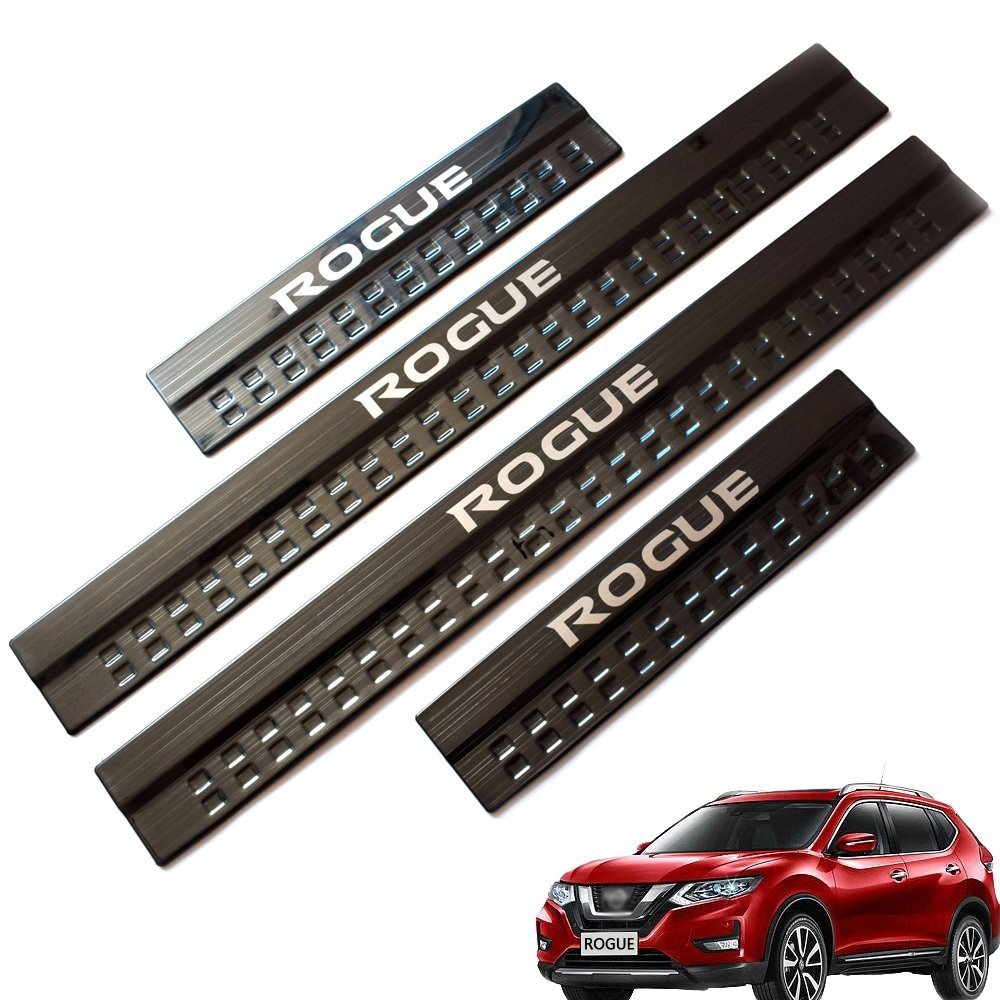 Weigesi Stainless Steel Door Sills Scuff Plate for Nissan Rogue 2014-2018 Black Yingjie