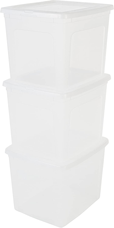 Iris Ohyama Modular Clear Box, Lote de 3 Cajas de Almacenamiento con Tapa Modulclebox Mcb 30 Plástico, Transparente, 30 L, 39,5 X 34 X 30,5 Cm, 30L