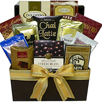 Art of Appreciation Gift Baskets Coffee Lovers Care package Gift Box Coffee, Cappuccino Latte Lovers Gourmet Snacks Gift Tote