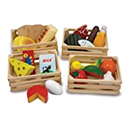 Melissa & Doug Food Groups - Wooden Play Food, Pretend Play, 21 Hand-Painted Wooden Pieces and 4 Crates, 12.5  H x 8.75  W x 12.5  L