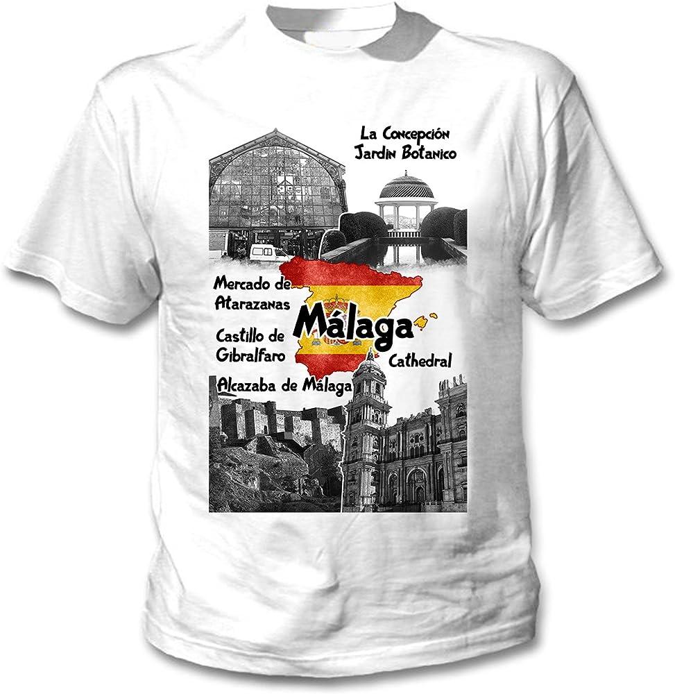 teesquare1st Spain Malaga Camiseta Blanca para Hombre de Algodon Size Small: Amazon.es: Ropa y accesorios