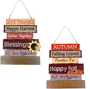 "MorTime Set of 2 Thanksgiving Hanging Welcome Signs, 14"" Thanksgiving Themed Wooden Door Signs Plaque for Fall Autumn Harvest Day Home Office Front Porch Decorations"
