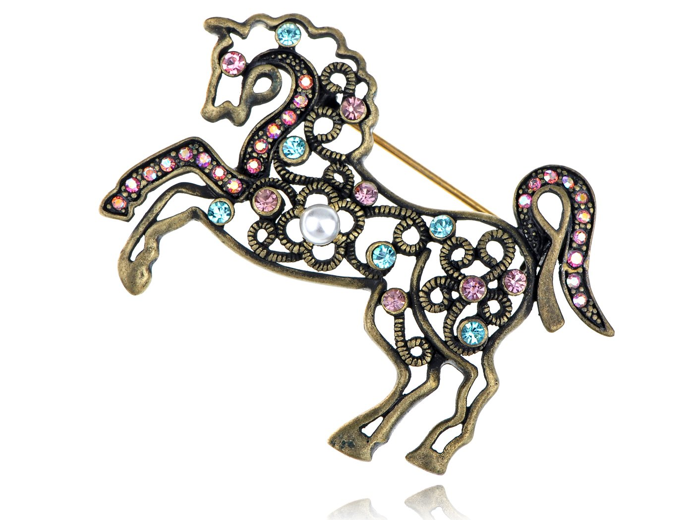Alilang Brass Tone Pink Turquoise Rhinestones Antique Horse Unicorn Brooch Pin