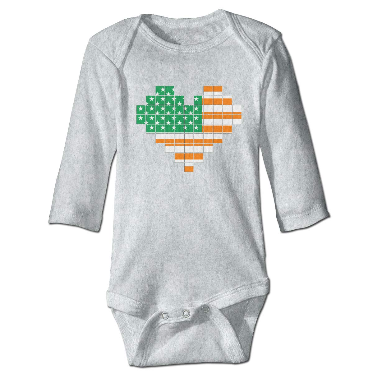 Infant Baby Boys Girls Long Sleeve Romper Bodysuit Irish Flag of The United States Puzzle Heart Playsuit Outfit Clothes