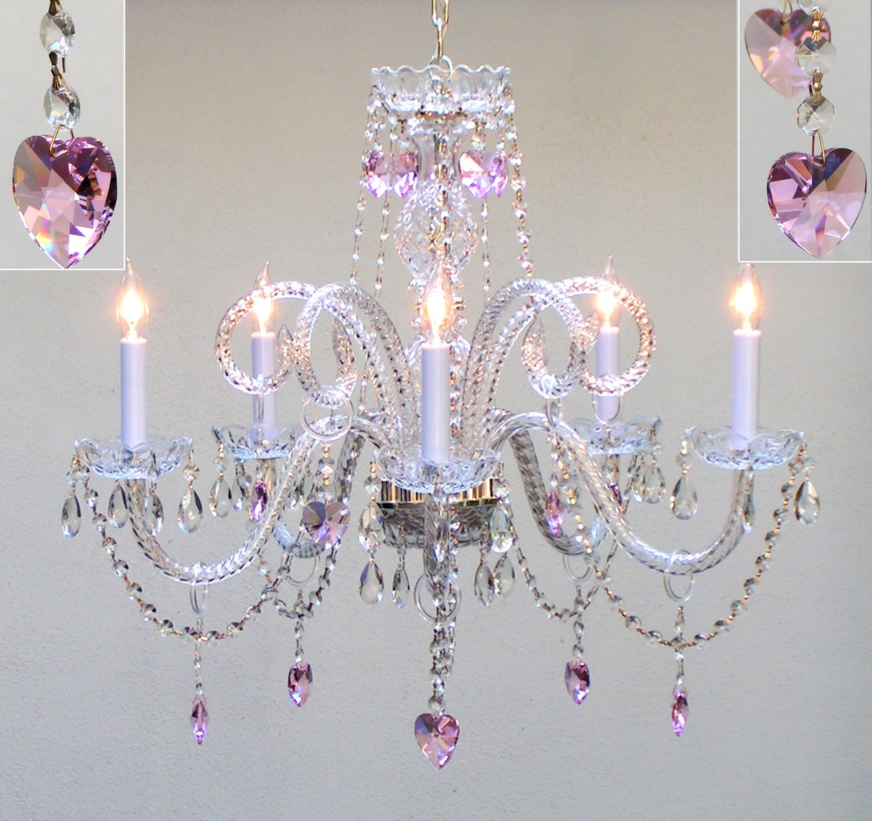 Chandelier lighting dressed with pink empress crystal tm hearts chandelier lighting dressed with pink empress crystal tm hearts h25 x w24 chandelier lighting pink chandelier for girls room amazon arubaitofo Choice Image