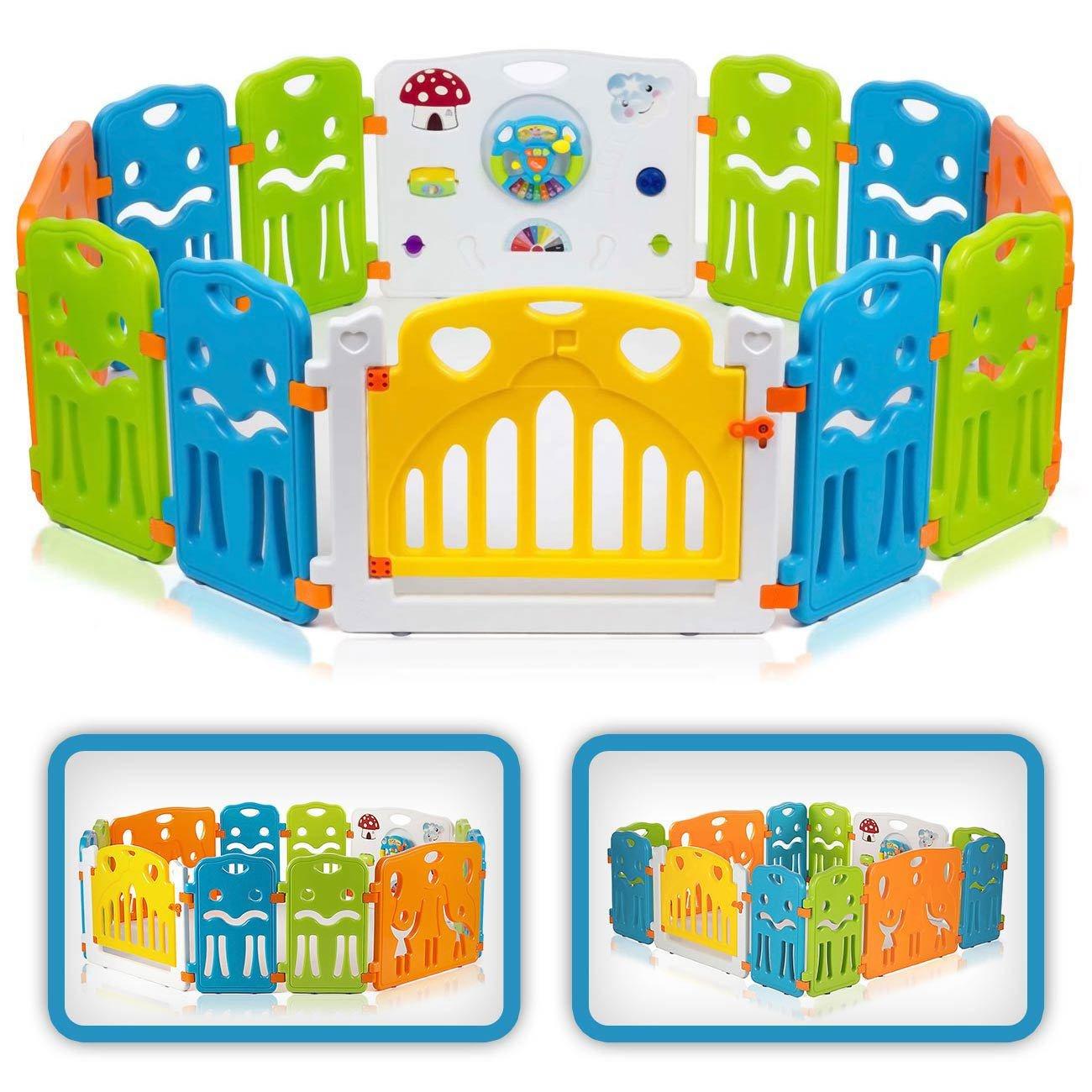 Baby Vivo Parc Bébé Barrière Securitè avec Porte Plastique Enfant Protection Grand Jeu Extensible - COLORS XL product image