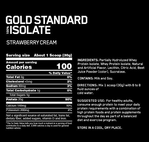 Optimum Nutrition Gold Standard 100 Isolate 3 LB TUB 2019 44 Servings New HYDROLYZED and Ultra Filtered Premium Isolate Protein Strawberry