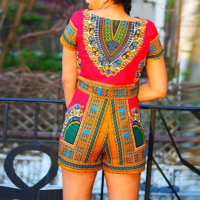 8ab4fa72639 Bravetoshop Women Dashiki African Printing Short Sleeve 2 Piece Set Short Pants  Casual Outfit Sportswear at Amazon Women s Clothing store