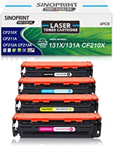 SINOPRINT Compatible Toner Cartridge Replacement for HP 131X 131A CF210X CF211A CF212A CF213A 131 for HP Laserjet Pro 200 Color M251nw M251n M276n M276nw Toner Black Cyan Magenta Yellow 4PK
