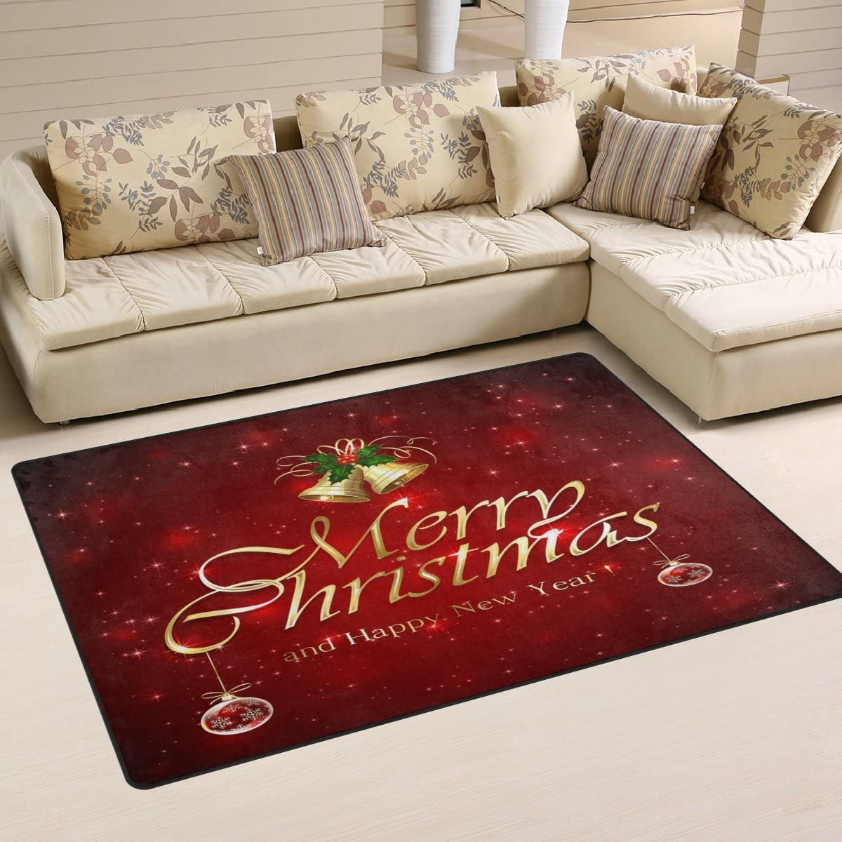 WOZO Red Starry Mery Christmas Area Rug Rugs Non-Slip Floor Mat Doormats Living Dining Room Bedroom Dorm 60 x 39 inches inches Home Decor