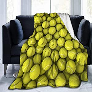 Cyloten Blanket Yellow Tennis Balls Fleece Blanket Foldrable Throw Blanket Washable Couch Sofa Fuzzy Blanket Reversible Plush Blanket Beach Blanket for Home Office