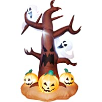 DR.DUDU 8 Ft Halloween Inflatable Ghost Tree with Pumpkins, Blow up Lighted Ghost Tree with LED Lights for Yard Party…