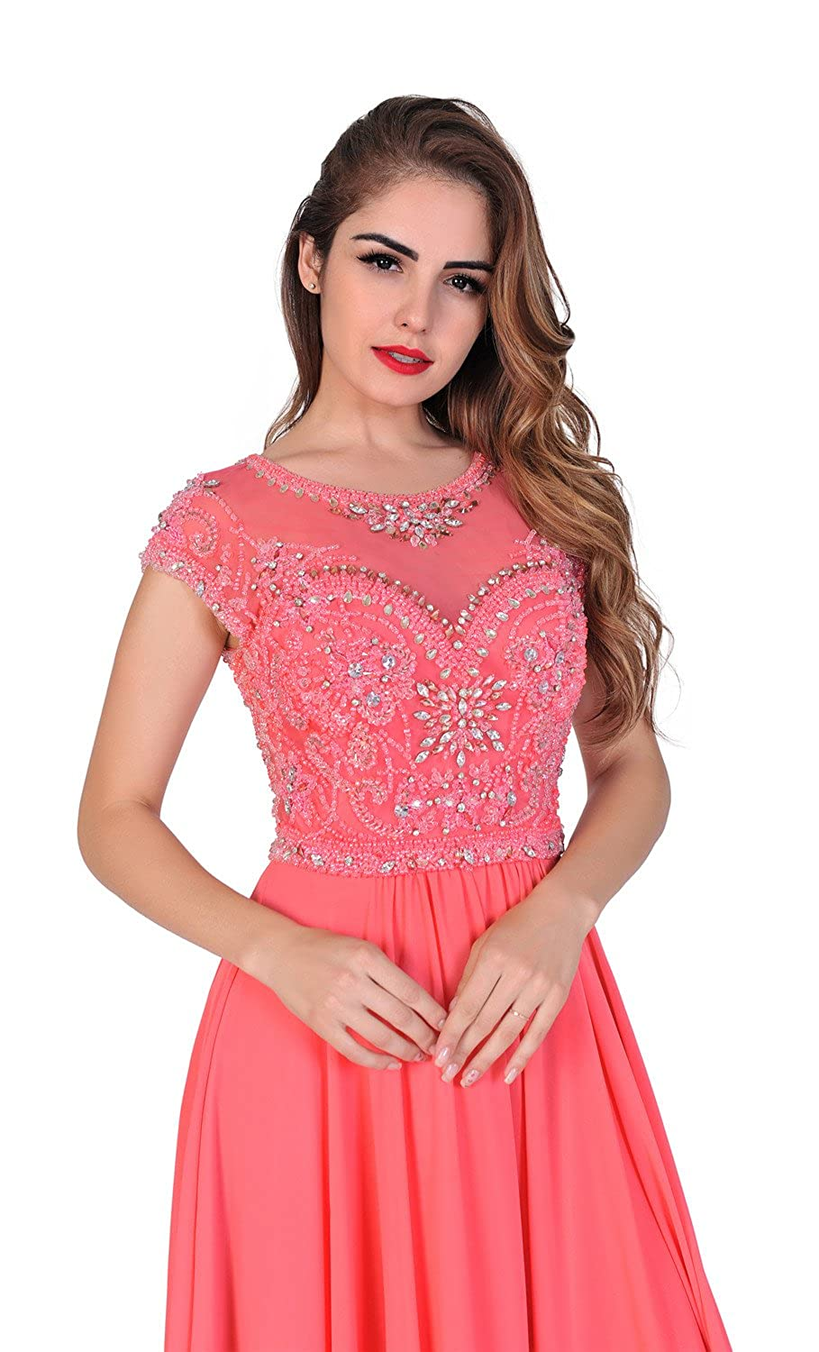 Amazon.com: Chic Belle Women Prom Dresses Long Formal Evening Gowns Chiffon Beaded Coral: Clothing
