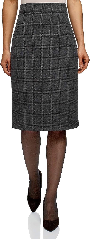 oodji Collection Mujer Falda Recta de Cintura Alta