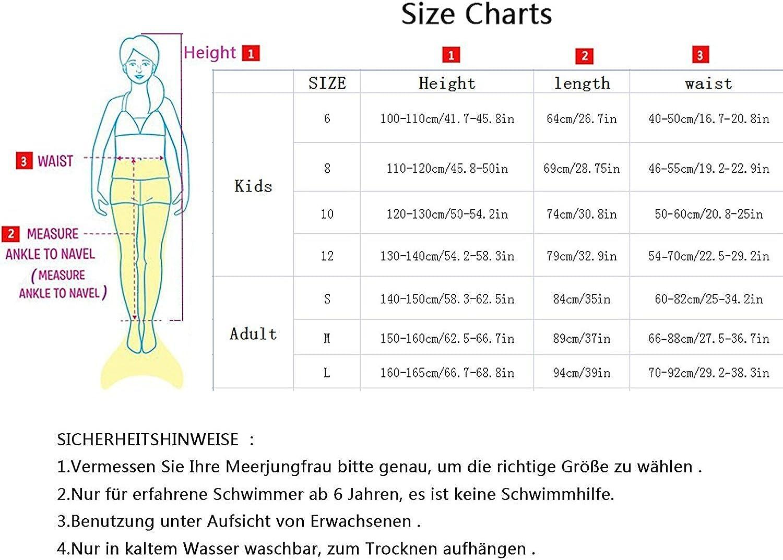 10 120-130cm Red 2 3STEAM M/ädchen Meerjungfrauenschwanz Zum Schwimmen mit Meerjungfrau Flosse