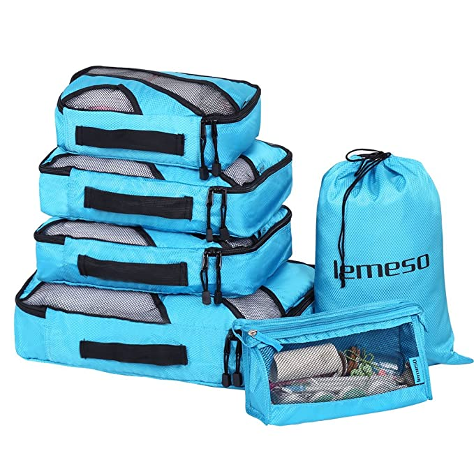 ff2217f061c6 Image Unavailable. Image not available for. Color  LEMESO 6 Piece Packing  Cubes Travel Luggage Organizer Bags ...