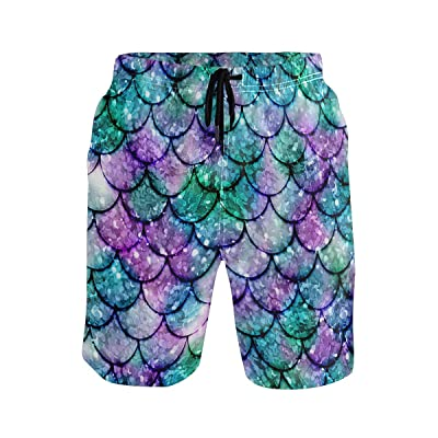 Multicolored Glowing Mermaid Men's Summer Casual Shorts Beachwear Sports Swim Board Shorts Quick Dry Surf Shorts White: Clothing